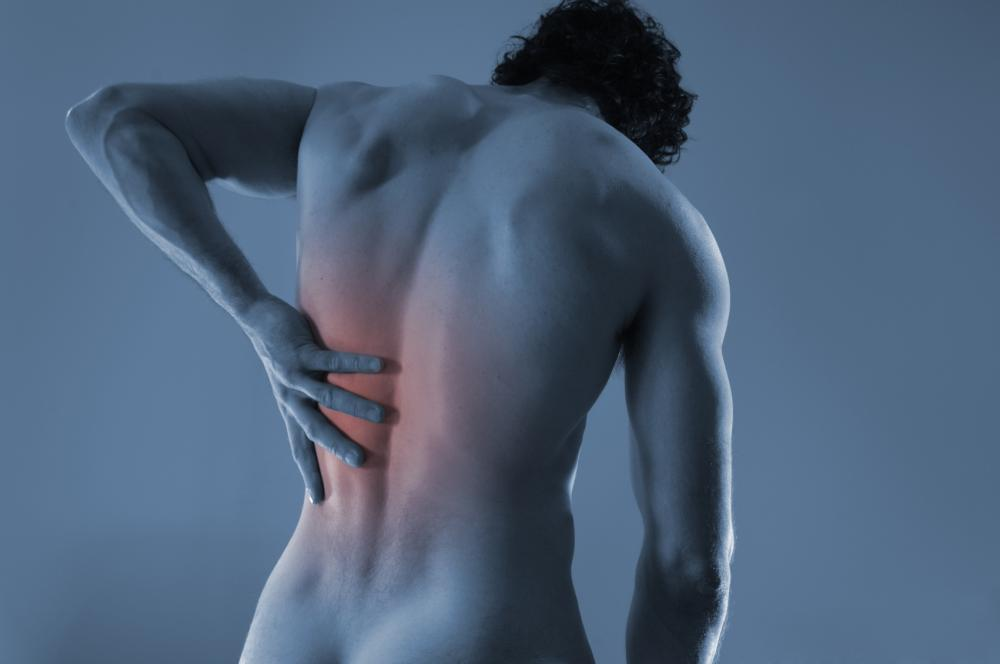 Man with bulging disc needs to visit chiropractor.